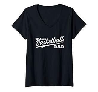Womens College Basketball Dad Retro 1970s Cursive Font Dark V-Neck T-Shirt