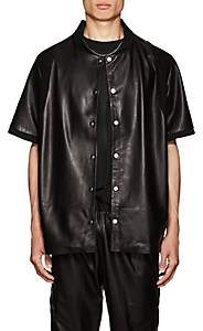 CARDONI Men's Star-Detailed Leather Short-Sleeve Jacket - Black