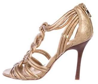 Tory Burch Metallic Leather Strap Sandals