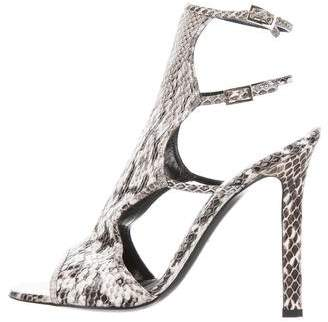 Tamara Mellon Snakeskin Cutout Sandals