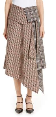 Monse Mixed Check Wool Blend Blanket Wrap Skirt