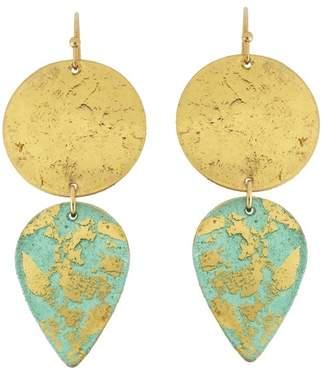 Evocateur 22K Gold Leaf Turquoise Gala Earrings