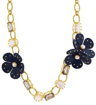 Kate Spade Chain Leather Flower Necklace, 17""