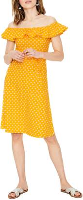 Boden Bethany Polka Dot Off the Shoulder Cotton Jersey Dress