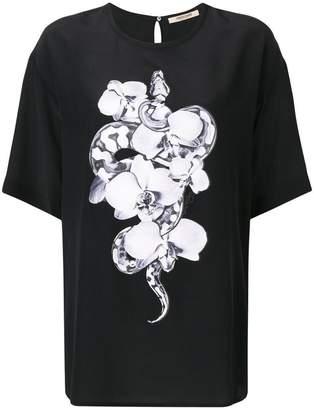 Roberto Cavalli round neck orchid T-shirt