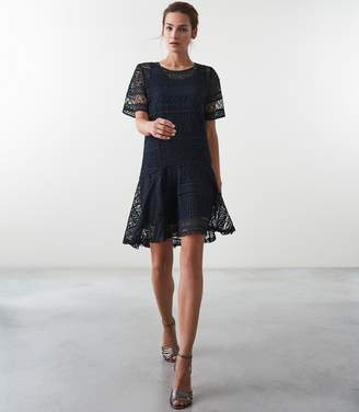 Reiss LINDA LACE SHIFT DRESS Navy