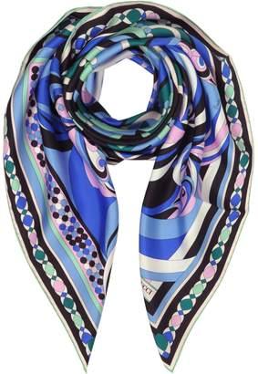 Emilio Pucci Cobalt Blue Geometric Pattern Print Twill Silk Square Scarf