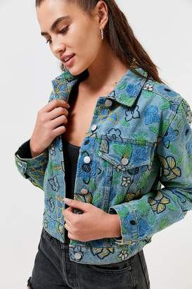 Urban Outfitters Floral Embroidered Trucker Jacket