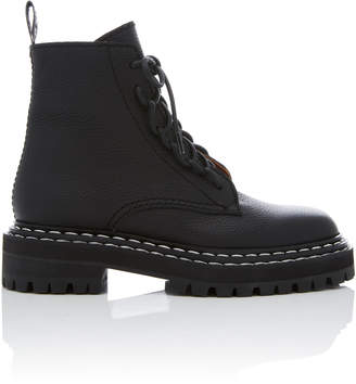 Proenza Schouler Leather Contrast-Stitched Combat Boots Size: 35