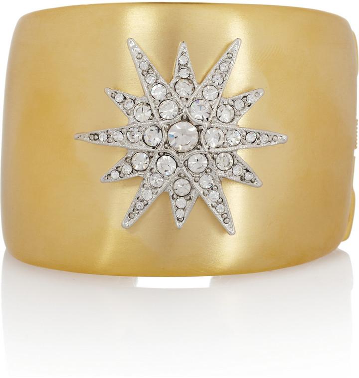 Kenneth Jay Lane Gold-plated Swarovski crystal star cuff