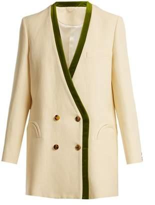 Blazé Milano Blaze Milano - Savannah Sunset Silk And Linen Blend Blazer - Womens - Cream Multi