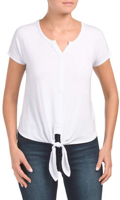 Button Front Tie Front Tee