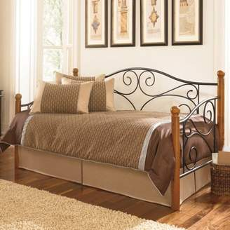 Leggett & Platt Doral Complete Metal Daybed with Euro Top Deck and Trundle Bed Pop-Up Frame, Matte Black Finish, Twin