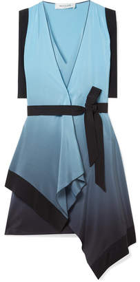 Thierry Mugler Draped Ombré Silk Crepe De Chine Wrap Dress - Blue