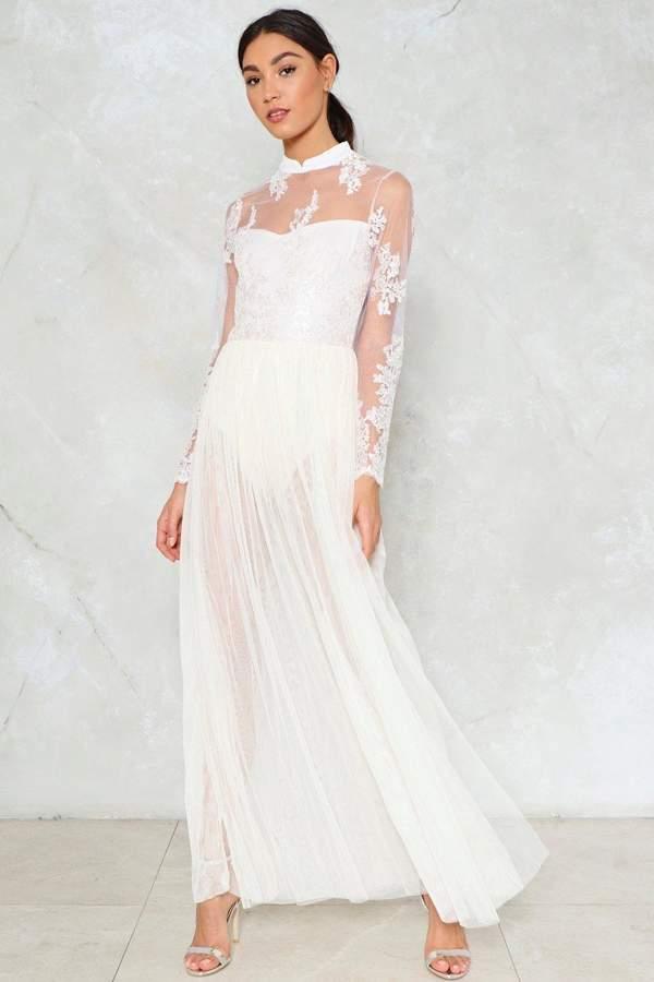 nastygal Lace Knicker Insert Mesh Overlay Dress