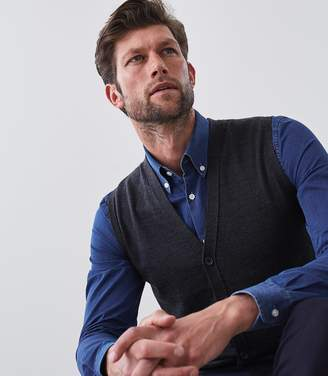 Reiss WALTER BUTTON THROUGH VEST Charcoal