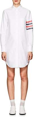 Thom Browne Women's Fringed Cotton Oxford Shirtdress - White