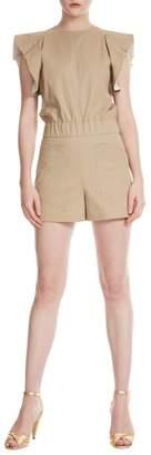 Maje sandro Parvin Beige Contrast Ruffle Sleeve Cotton Romper