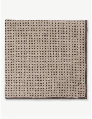 Eleventy Reversible dot print cotton-wool pocket square