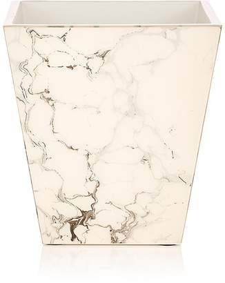 Pacific Connections Carrara Marbled Wooden Wastebasket