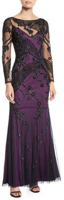 Parker Black Sophia Sheer Floral Long-Sleeve Gown Dress