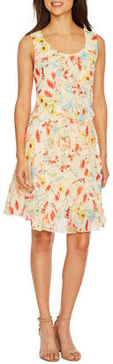 Robbie Bee Sleeveless Floral Fit & Flare Dress