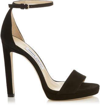 Jimmy Choo MISTY 120 Black Suede Platform Sandals