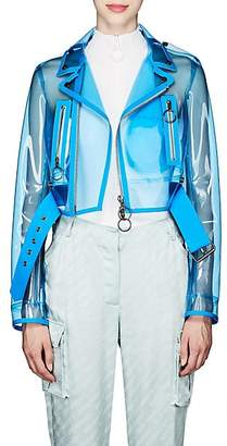 Off-White Women's Transparent Vinyl Moto Jacket - Blue