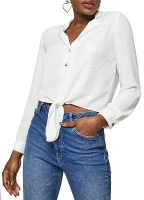 Miss Selfridge Button-Down Tie-Front Shirt