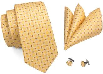 CAOFENVOO Men's Tie Hanky Cufflinks Jacquard Woven Silk Necktie N-0437