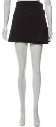 Burberry Wool Belt-Accented Mini Skirt Black Wool Belt-Accented Mini Skirt