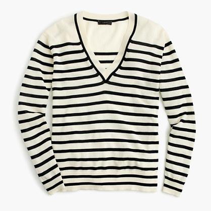 J.CrewStriped V-neck sweater in summerweight cotton