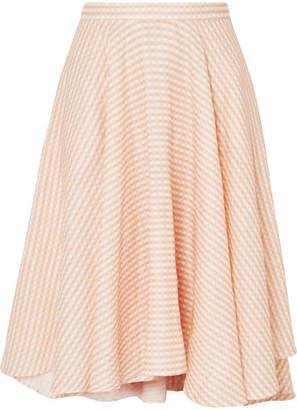 Miguelina Jackie Asymmetric Gingham Linen Midi Skirt - Neutral