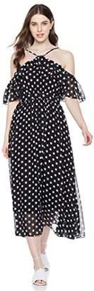Peace Love Maxi Women's Falbala Front Spaghetti Strap Halter Chiffon Dress
