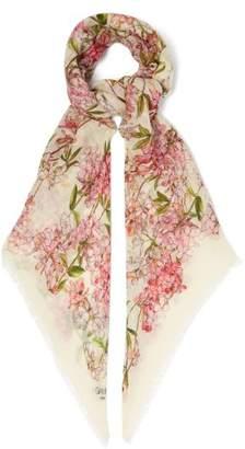 Giambattista Valli Floral Print Cashmere Faille Scarf - Womens - Ivory