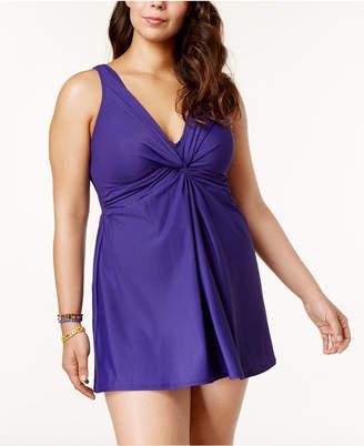 Miraclesuit Plus Size Marais Twist-Front Swimdress Women's Swimsuit