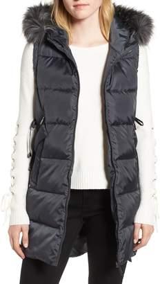 Sam Edelman Faux Fur Trim Hooded Side-Tie Vest