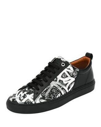 Bally Men's Herbi Graffiti-Print Leather Low-Top Sneakers