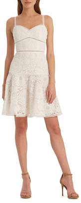 ML Monique Lhuillier Floral Lace Sweetheart Mini Dress