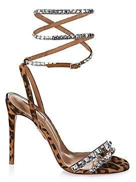 ea1007689 Aquazzura Women s So Vera Swarovski Crystal Embellished Leopard Slingback  Sandals