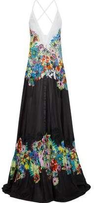 Roberto Cavalli Broderie Anglaise-Trimmed Floral-Print Cotton-Voile Gown