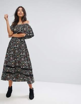 PrettyLittleThing Bardot Printed Midi Dress $56 thestylecure.com