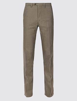 M&S Collection Cotton Rich Slim Fit Flat Front Trousers