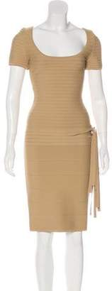 Herve Leger Short Sleeve Knee-Length Dress Tan Short Sleeve Knee-Length Dress
