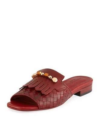 Sesto Meucci Gillis Woven Kiltie Flat Slide Sandal, Ruby Red