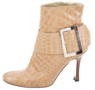 Dolce & Gabbana Crocodile Leather Ankle Boots