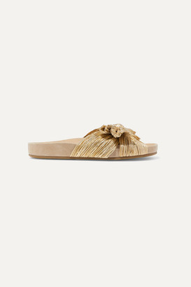 Loeffler Randall Caro Bow-detailed Plissé-lamé Slides - Gold