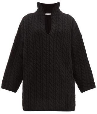 Balenciaga Cable Knit Wool Sweater - Womens - Black