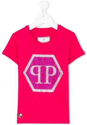 Philipp Plein Junior embellished logo front T-shirt