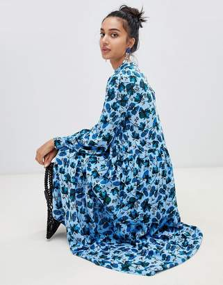 Lost Ink high neck midaxi shift dress in winter floral